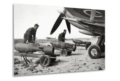 Bombs Being Loaded into a Supermarine Spitfire Mk XIV of the Royal Air Force--Metal Print