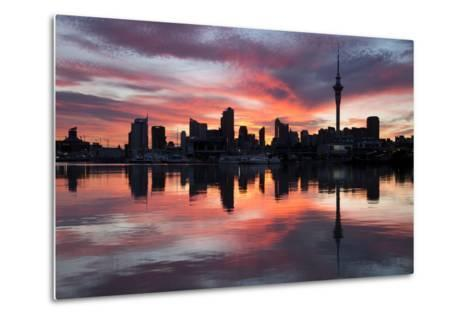 Sky Tower and City at Dawn from Westhaven Marina, Auckland, North Island, New Zealand, Pacific-Stuart-Metal Print