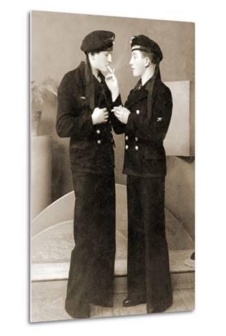 Two German Submariners Enjoying a Cigarette, C.1941--Metal Print