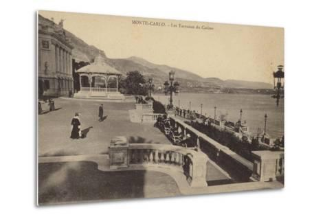 Postcard Depicting the Terrace of the Monte Carlo Casino--Metal Print