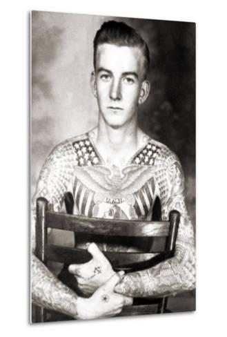 Portrait of Bob Shaw with Tattoos by Bert Grimm, C.1944--Metal Print