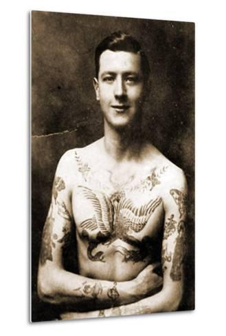 Portrait of a Man with an Elaborate Tattoos C.1920--Metal Print