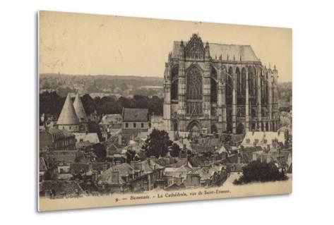 Postcard Depicting the Cathedral of Saint Peter of Beauvais--Metal Print
