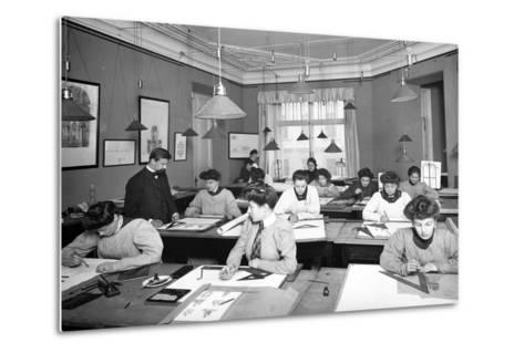 Architectural Drawing Class for Women Students in St. Petersburg--Metal Print