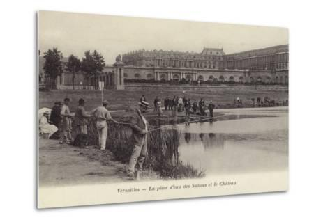 Postcard Depicting Fishing in the Grounds of the Palace of Versailles--Metal Print