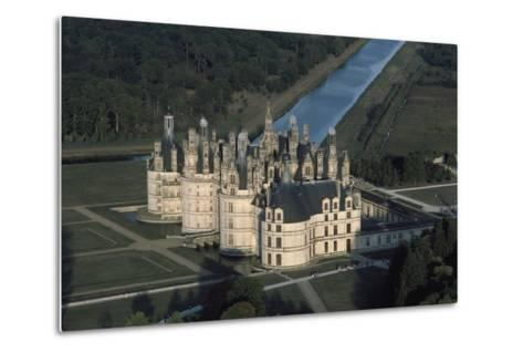 France, Loire Valley, Aerial View of Chateau De Chambord--Metal Print