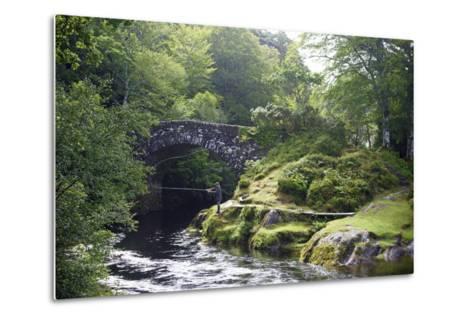 Fly Fishing on the River Shiel, Near Acharacle, Invernesshire, Scotland, United Kingdom, Europe-Duncan Maxwell-Metal Print