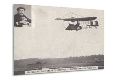 Belgian Aviator Josef Christiaens Flying at the Stockel Aviation Fortnight, Brussels, Belgium, 1910--Metal Print