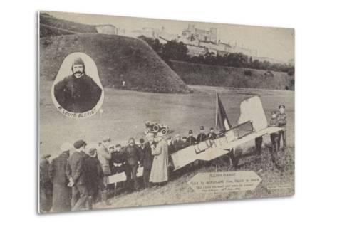 Louis Bleriot with His Aircraft at Dover after Flying across the English Channel, 15 July 1909--Metal Print