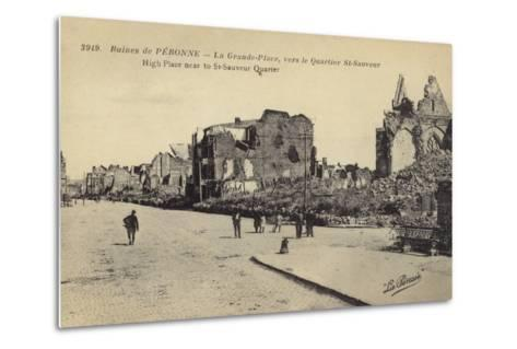 Postcard Depicting Ruins and Damaged Buildings in Le Grande Place--Metal Print