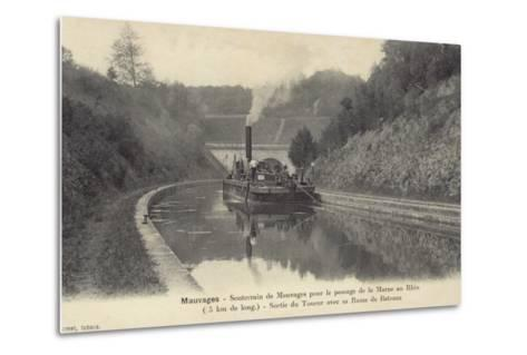Postcard Depicting a Steam Boat on the Waters of the Marne–Rhine Canal--Metal Print