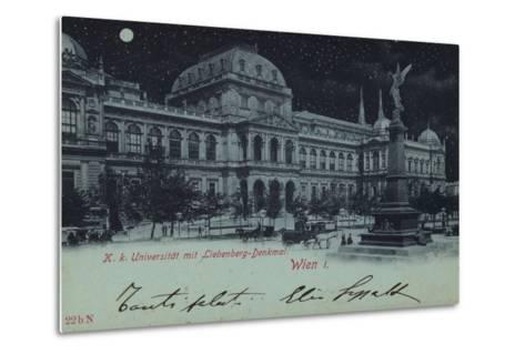 Postcard Depicting the Liebenberg Monument and the University of Vienna--Metal Print
