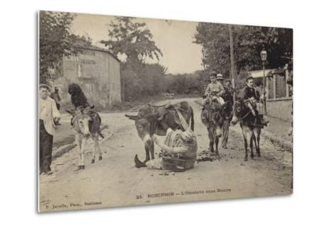Postcard Depicting a Women Falling from Her Donkey--Metal Print