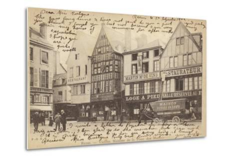 Postcard Depicting Old Houses in the Place Des Marches--Metal Print