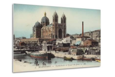 Postcard Depicting the Cathedral and Canal Saint-Jean--Metal Print