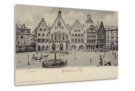 Postcard Depicting a General View of the Romer Area of Frankfurt--Metal Print