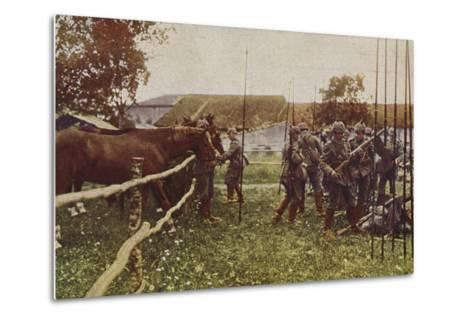 German Cavalry Preparing to Go Out on Patrol, World War I, 1914-1916--Metal Print