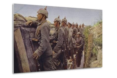 German Soldiers Awaiting the Enemy in a Trench, World War I, 1914-1916--Metal Print