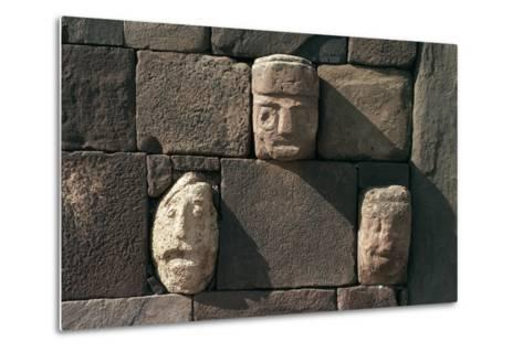 Wall with Stone Heads, Archaeological Site of Tiwanaku--Metal Print