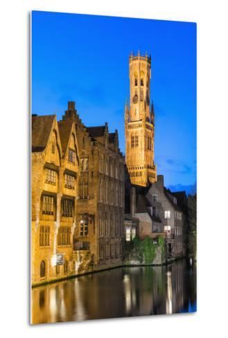 Belfry at Twilight, Historic Center of Bruges, UNESCO World Heritage Site, Belgium, Europe-G&M-Metal Print