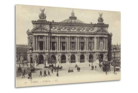 Postcard Depicting the Facade of the Palais Garnier--Metal Print