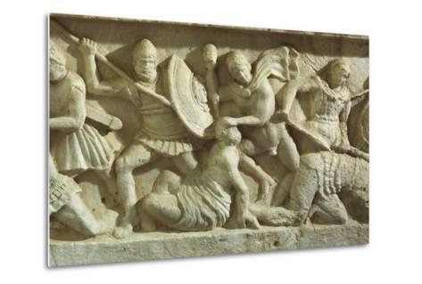 Cinerary Urn Depicting a Battle Scene, from Chiusi--Metal Print