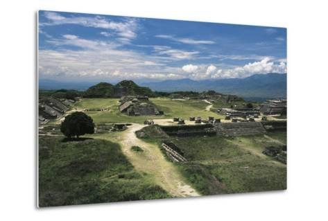 Central Square and View of Archaeological Site of Monte Alban--Metal Print