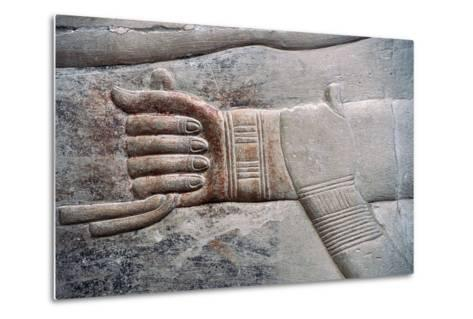 Relief of Wife's Gesture of Placing Her Hand on Her Husband's Arm--Metal Print