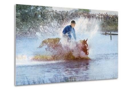 Adriano Facchini and His Horse Participating in the Pentathlon at the 1956 Melbourne Olympics--Metal Print