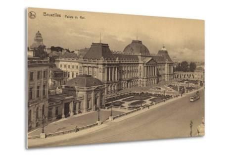 Postcard Depicting a View of the Royal Palace of Brussels--Metal Print