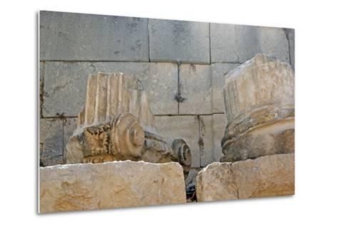 Decorated Capital and Column Base, Patara, Turkey--Metal Print