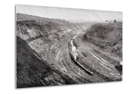 Culebra Cut from West Bank Showing Shovels at Work--Metal Print