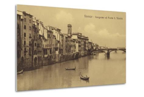 Postcard Depicting Buildings Along the Embankment and Ponte Santa Trinita Crossing the River Arno--Metal Print