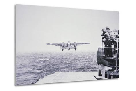 The Doolittle Raid on Tokyo 18th April 1942: One of 16 B-25 Bombers Leaves the Deck of USS Hornet-American Photographer-Metal Print