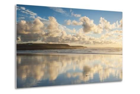 Cloud Reflections at Constantine Bay at Sunset, Cornwall, England, United Kingdom, Europe-Matthew-Metal Print