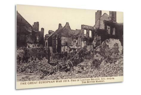 Fire Damaged Buildings, the Butter Market, Leuven--Metal Print