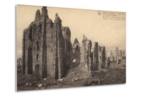 Ruins of St Peter's Church, Ypres, Belgium, World War I--Metal Print
