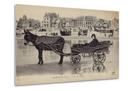 Postcard Depicting a Young Man Sitting in a Cart Being Drawn by a Donkey--Metal Print