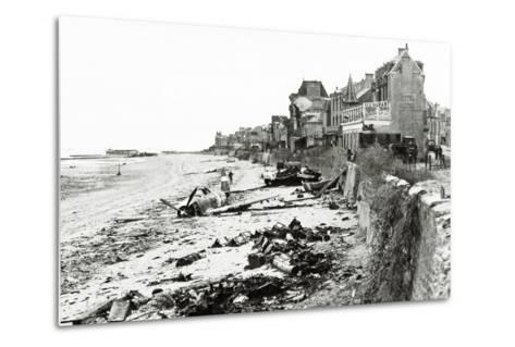 A Republic P-47 Has Crashed on the Beach, Which Is Littered with Scrap, Normandy, France, June 1944--Metal Print