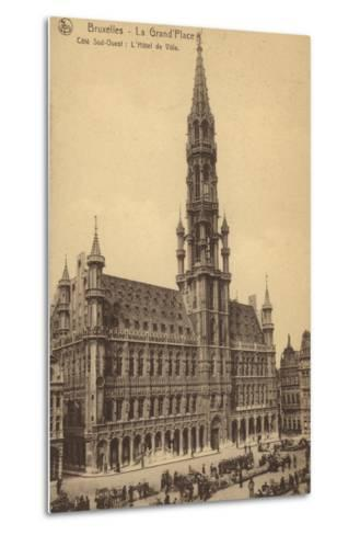Postcard Depicting the Town Hall in the Grand'Place--Metal Print