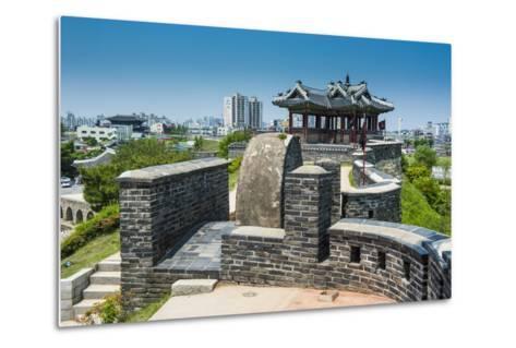 Huge Stone Walls around the Fortress of Suwon, UNESCO World Heritage Site, South Korea, Asia-Michael-Metal Print