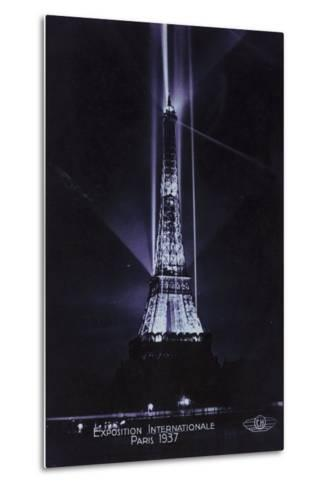 Eiffel Tower at Night, Exposition Internationale, Paris, 1937--Metal Print