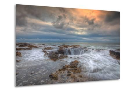 Standing at Thor's Well, Oregon Coast-Vincent James-Metal Print