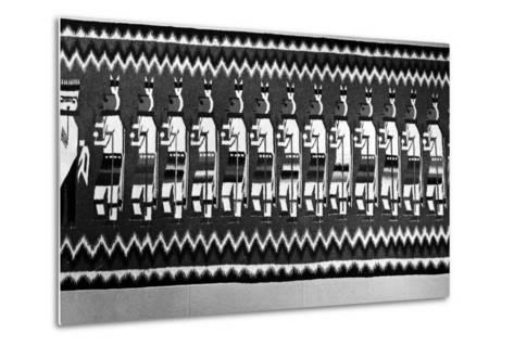 Navajo Rug Depicting Kachina and Yei Figures, 1968--Metal Print