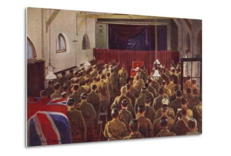 King George V Attending a Church Service with British Troops, World War I--Metal Print