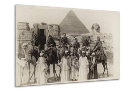 British Soldiers on Camels at the Pyramids of Giza, Egypt, World War II--Metal Print