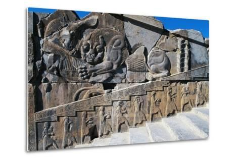 Bas-Relief of Servants Carrying Gifts for King's Banquet Surmounted by Zoomorphic Relief--Metal Print