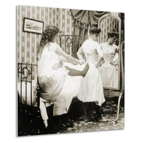 Humorous Stereoscopic Card Depicting a Woman Being Laced into a Corset, C.1900--Metal Print
