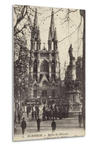 Postcard Depicting the Eglise Des Reformes and the Monument Des Mobiles--Metal Print