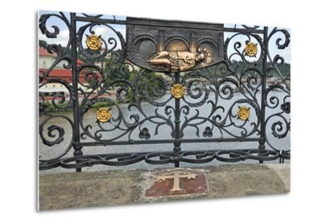 Memorial Plate for Saint John of Nepomuk, Charles Bridge, Prague, Czech Republic--Metal Print